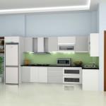 Mẫu sản phẩm tủ bếp nhôm kính màu trắng hiện đại   TBN04
